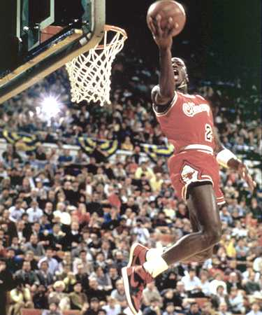 Yes, that is the incomparable Mister Jordan, competing in the NBA Slam Dunk competition his rookie year.