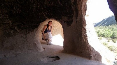 This is Joanne. She's not in a fishbowl here, but a Native American cave dwelling at Bandalier National Park.