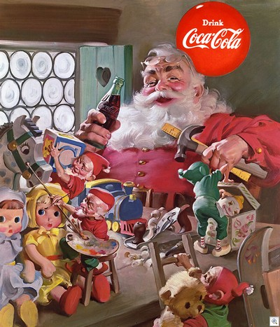 if you're a fan of the coca-cola santa claus, you can get a ton more images of haddon sundblom's masterful creation at http://www2.coca-cola.com/presscenter/imageheritage.html