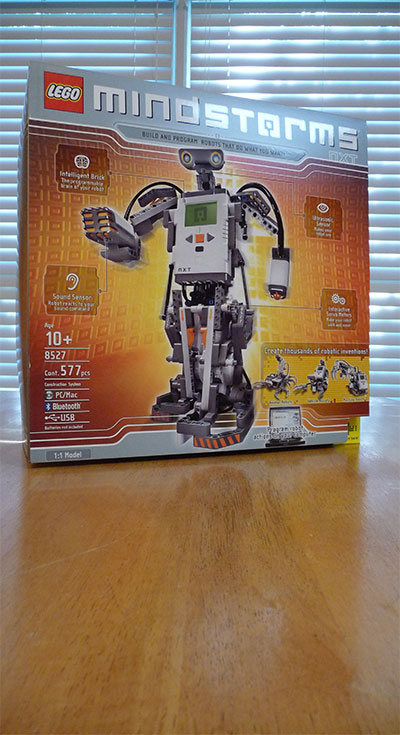 Mindstorms NXT enters the Funlab AKA the kitchen table. Robotics FTW!